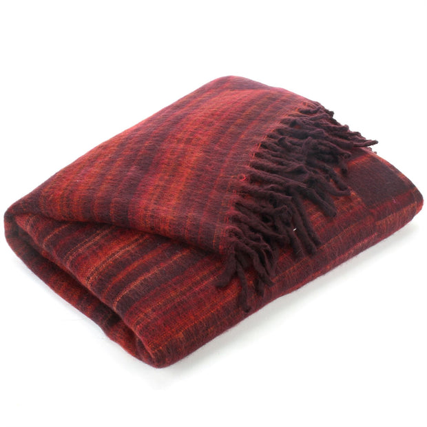 Vegan Wool Shawl Blanket - Stripe - Maroon Red