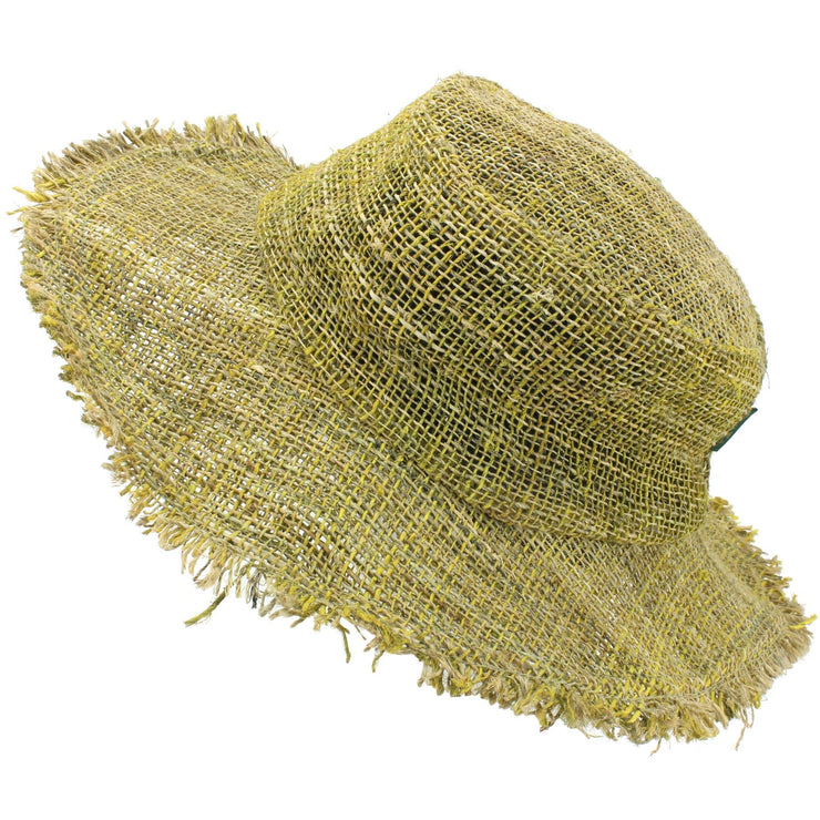 Frayed Brim Hemp Sun Hat - Yellow