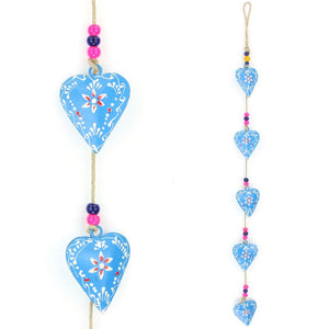 Hanging Mobile Decoration String of Hearts - Blue - Sand String
