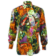 Regular Fit Long Sleeve Shirt - Purple & Orange Abstract Flames