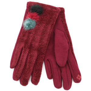 Ladies Velvet Gloves - Maroon