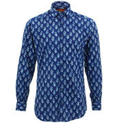 Tailored Fit Long Sleeve Shirt - Block Print - Seaweed