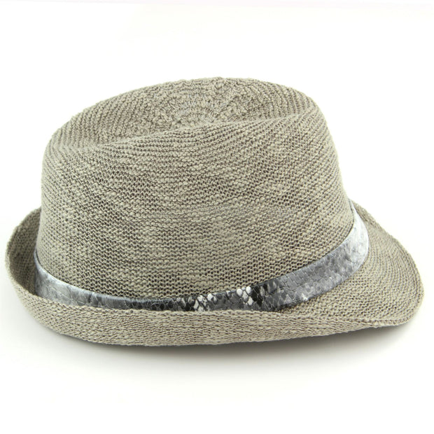 Lightweight trilby hat with faux leather snakeskin band - Light grey (57cm)