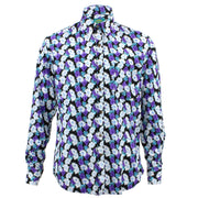 Tailored Fit Long Sleeve Shirt - Purple & White Floral