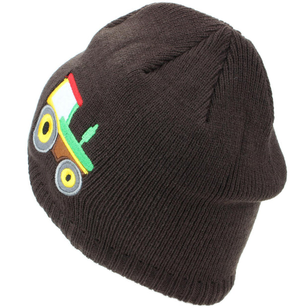 Childrens Fine Knit Beanie Hat with Embroidered Tractor - Brown