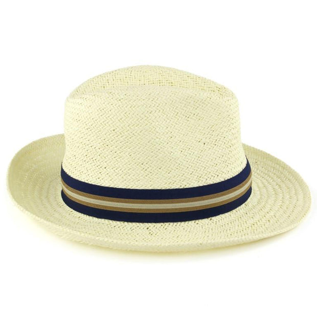 Wide Brim Straw Panama Fedora Hat  - Blue & Brown