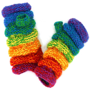 Wool Knit Arm Warmer - Ruched - Shredded Rainbow