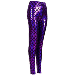 Shiny Fish Scale Leggings - Purple