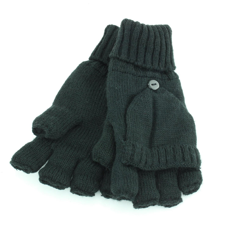 Knitted Shooter Gloves - Black