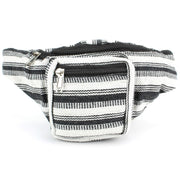Canvas Bum Bag Money Belt Fanny Pack Black & White