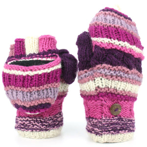 Chunky Wool Fingerless Shooter Gloves - Striped Mixed Knits - Pink Purple