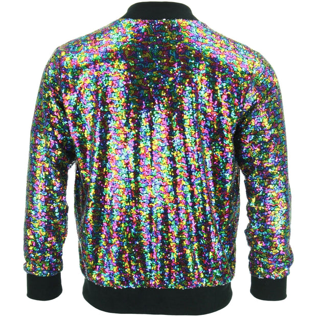 Unisex Sequin Bomber Jacket - Rainbow