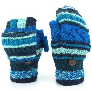 Chunky Wool Fingerless Shooter Gloves - Striped Mixed Knits - Blue