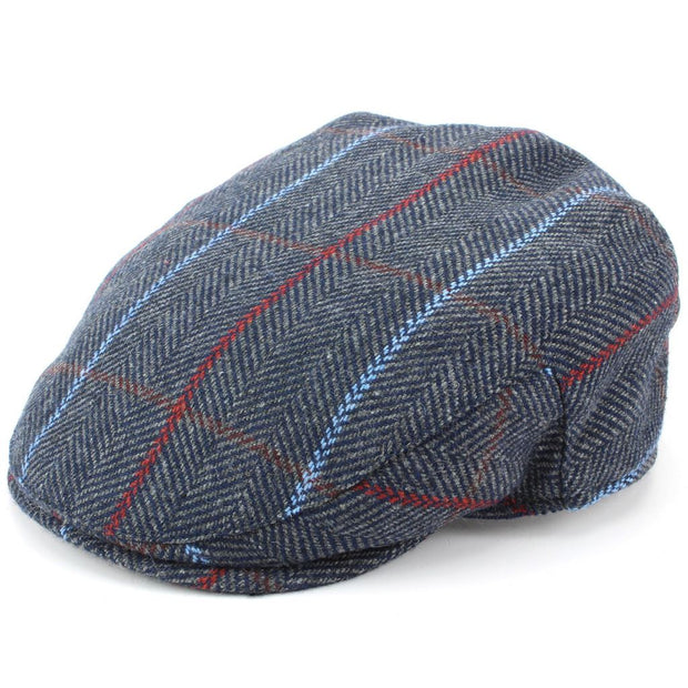 Tweed Flat Cap with Quilted Lining - Blue