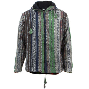 Fleece Lined Brushed Cotton Hooded Jacket Cardigan - Green, Brown & Navy