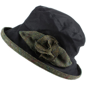 Ladies Waterproof Wax Cloche Hat with Tweed Rose and Brim - Black (Dark Green Tweed)