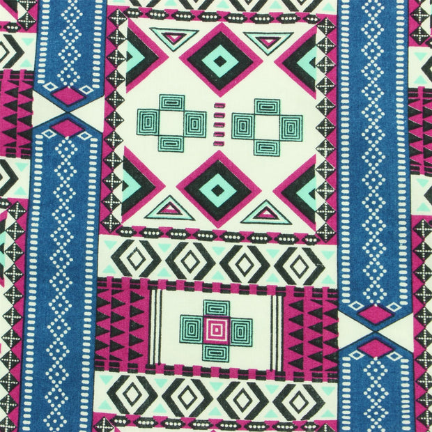 Tailored Fit Short Sleeve Shirt - Blue & Pink Aztec