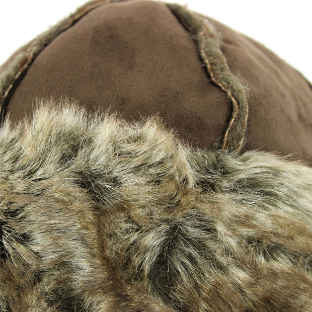 Suede Effect Hat and Faux Fur Cuff and Lining - Brown