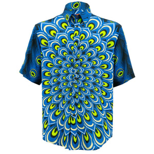 Regular Fit Short Sleeve Shirt - Peacock Mandala - Navy