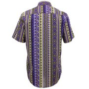 Tailored Fit Short Sleeve Shirt - Purple Aztec