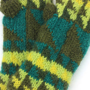 Wool Knit Arm Warmer - Triangles - Green
