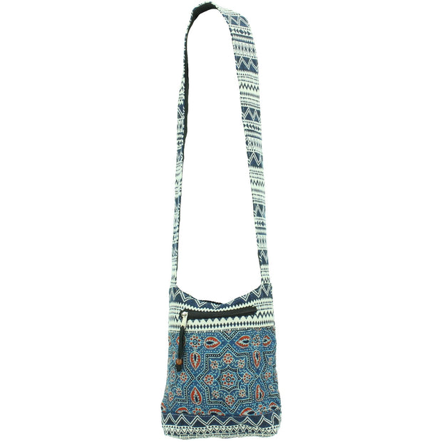 Cotton Canvas Sling Shoulder Bag - Ethnic Blue