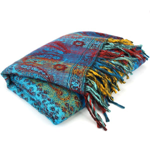 Vegan Wool Shawl Blanket - Paisley Stripe - Turquoise & Red