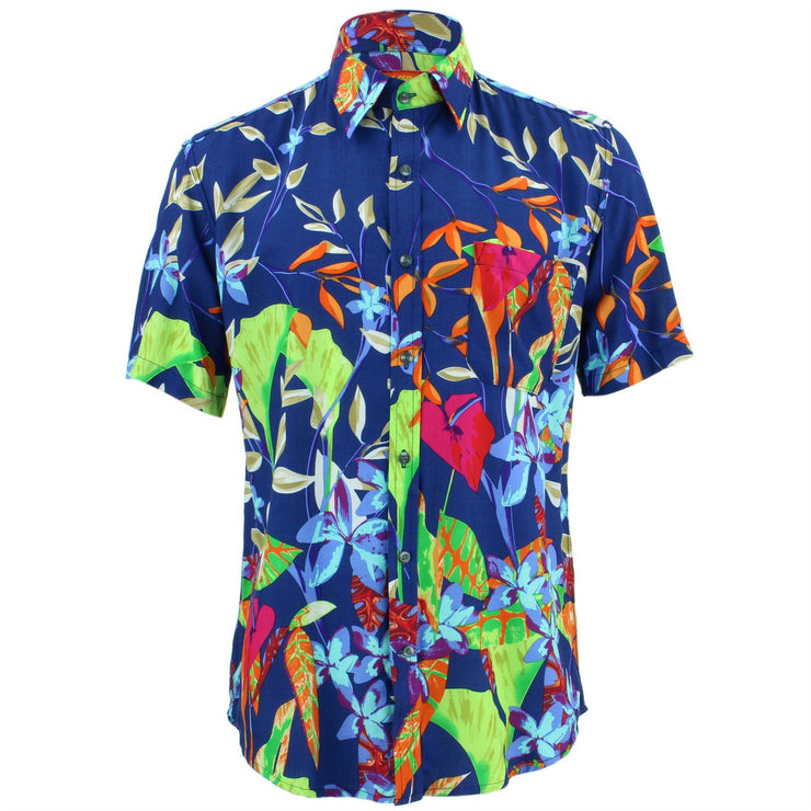 Tailored Fit Short Sleeve Shirt - Deep Blue Abstract Floral