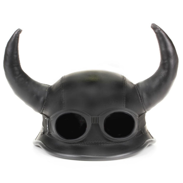 Viking Horned Novelty Festival Helmet with Goggles - Black