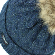 Cable Knit Beanie Hat with Thermal Lining and Faux Fur Bobble - Blue