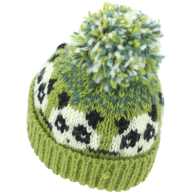 Wool Knit Bobble Beanie Hat - Panda - Green Grey