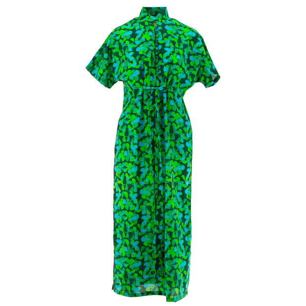 Mandarin Maxi Dress - Vivid Green Flower
