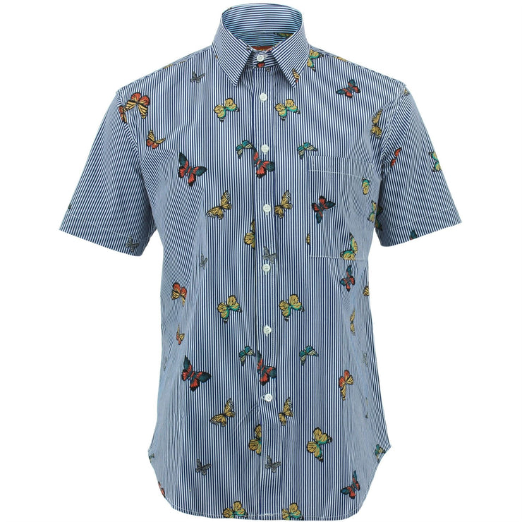 Regular Fit Short Sleeve Shirt - Butterfly Stripes