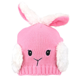 Fine Knit Animal Beanie Hat with Faux Fur Details - Rabbit