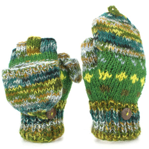 Chunky Wool Knit Fingerless Shooter Gloves - Abstract - Green