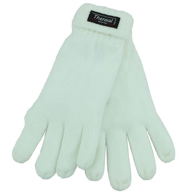 Fold Up Cuffs Thermal Gloves - White