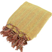Striped Cotton Blanket With Tassel Edging - Sand