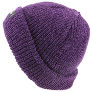 Chenille beanie hat with fleece lining - Purple (One Size)