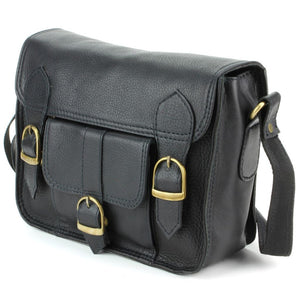 Real Leather Satchel with Front Pocket - Black