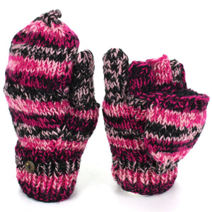 Wool Knit Shooter Gloves - Black Pink SD