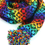 Chunky Wool Knit Scarf - Rainbow Diamond
