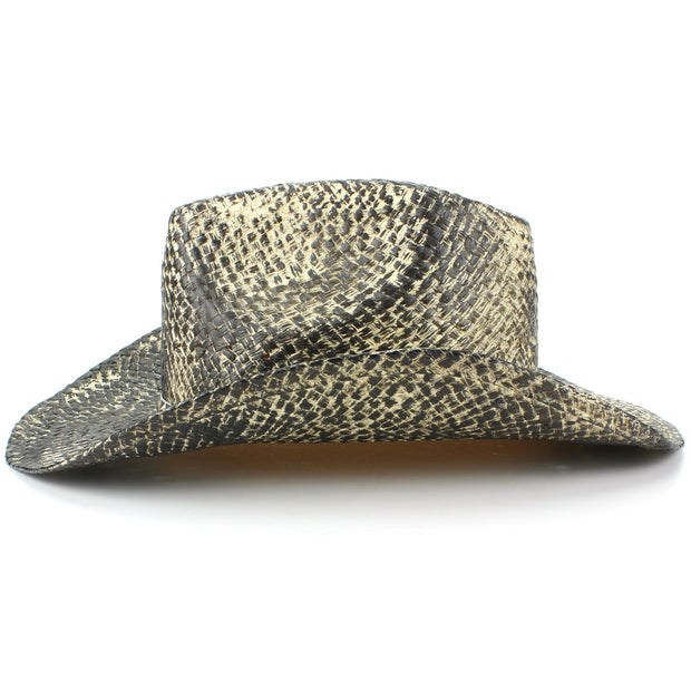Weathered Snakeskin Effect Straw Cowboy Hat with Studded Band