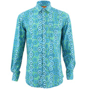 Regular Fit Long Sleeve Shirt - Blue Abstract Umbrellas