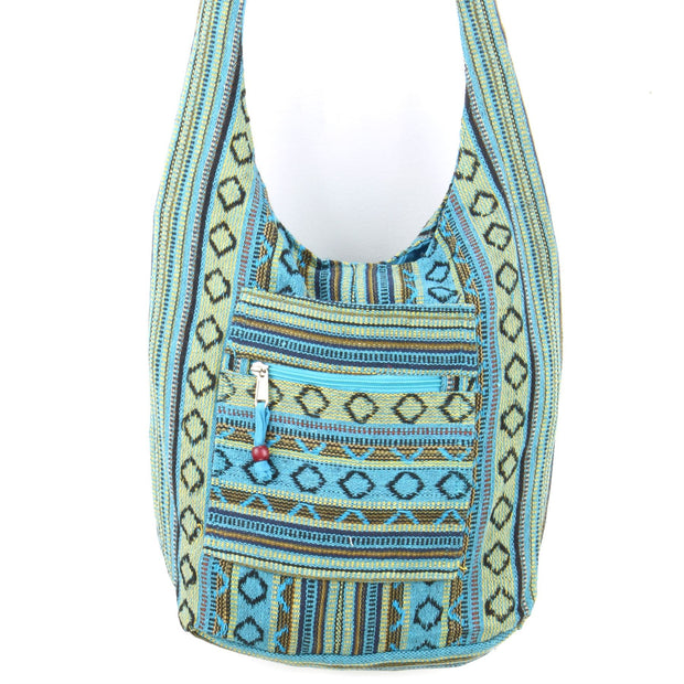 Diamond Pattern Canvas Sling Shoulder Bag - Blue