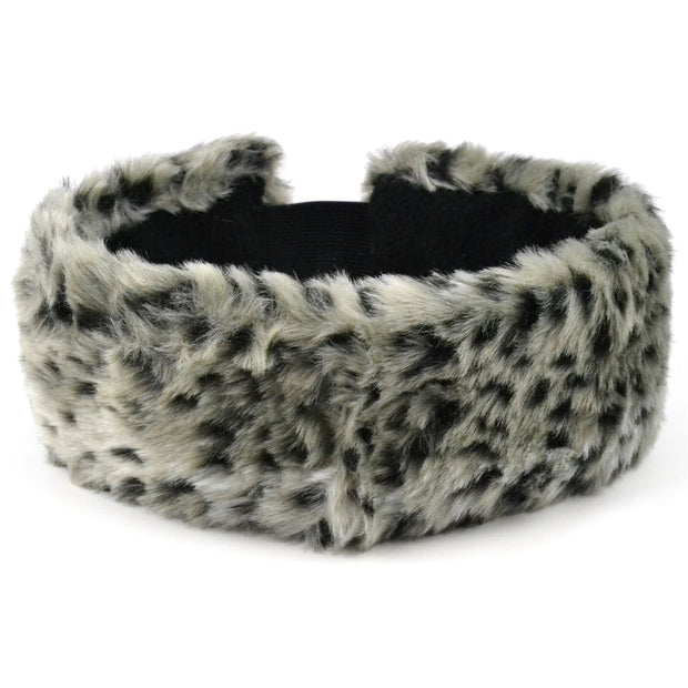 Faux fur headband with satin lining - Snow Leopard print