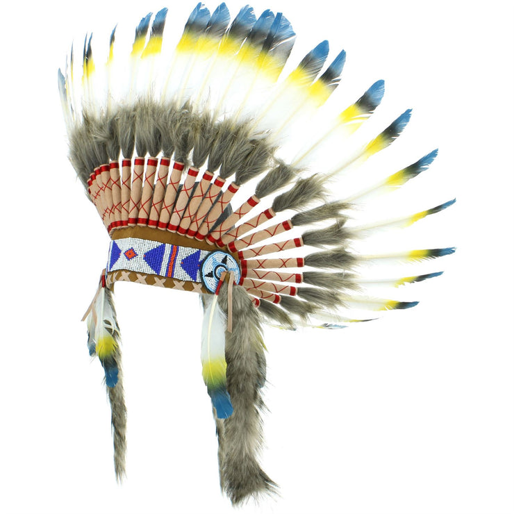 Native Amercian Chief Headdress - Blue Yellow & Black