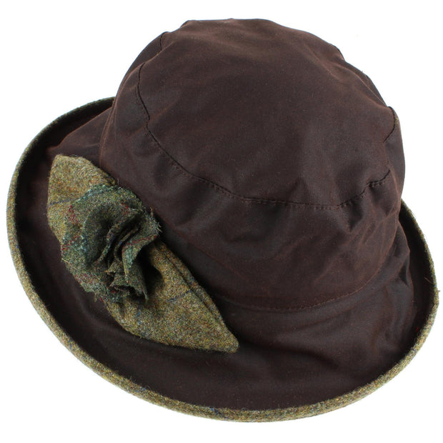 Ladies Waterproof Wax Cloche Hat with Tweed Rose and Brim - Brown (Light Green Tweed)