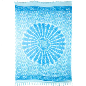 Viscose Rayon Sarong - Mandala - Light Blue