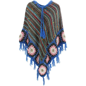 Granny Squares Crochet Poncho Long - Black Multi/Blue