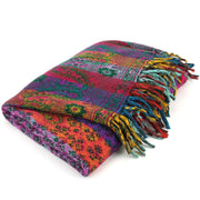 Vegan Wool Shawl Blanket - Paisley Stripe - Orange & Purple